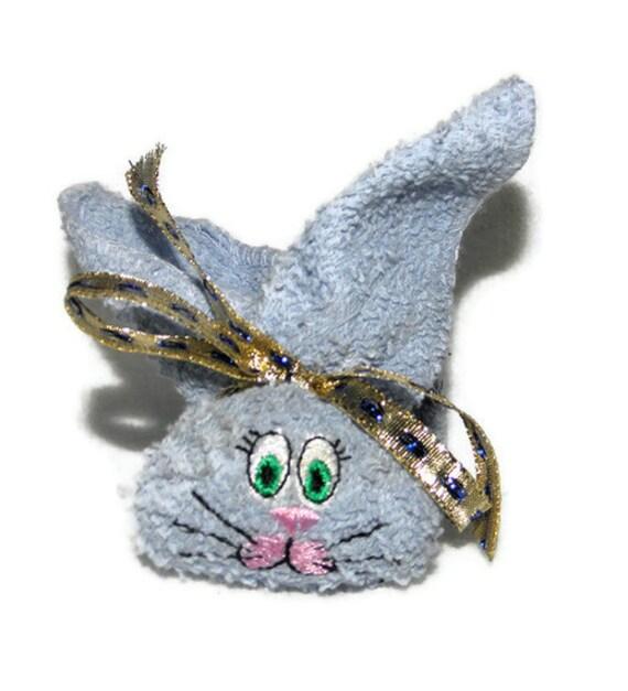Washcloth Bunnies: Boo Boo Bunny Ice Pack Embroidery Light Denim BLUE