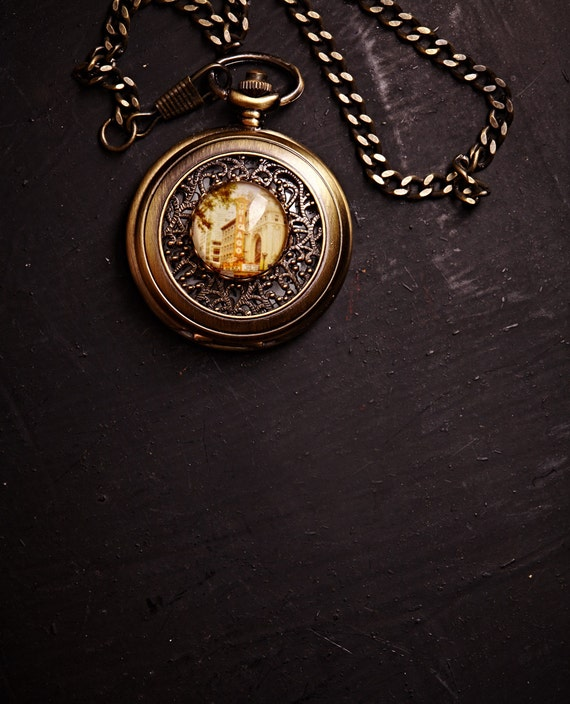 CLEARANCE Gold Pocket Watch - Chicago - Large Antique Bronze -  Great for Groomsmen, Dad, Etc. LAST ONE