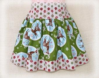 size 5T - HOLIDAY DEER - Girls Twirl Skirt