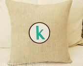 Circle Monogrammed Pillow Cover in Linen 16x16 inch