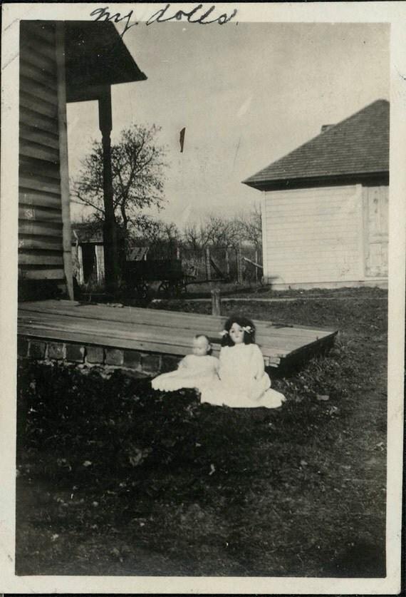 vintage photo Little Girls Dolls Margaret and Jane Set out on Lawn