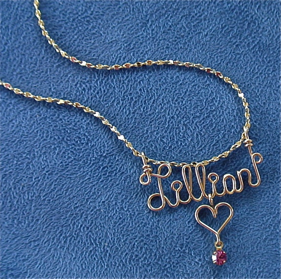 Personalized Jewelry Gold Wire Name Necklace w/Heart, Cross, Star, Peace Sign or Flower and Swarovski Birthstone-Any Name