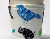 Coffee Cozy/ Cup Sleeve, Eco Friendly, Slip-on, Co-worker gift, Teacher Appreication, Bulk Discount: Blue and Green Birds on White