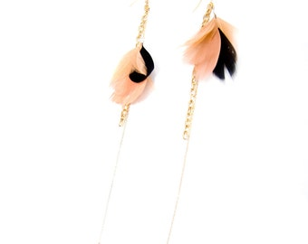 Porcelain Doll - Statement Gold Nude Dangle Earrings - Nude and Black Feathers