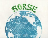 Horse Latitudes Linocut - Earth Science, Oceanography, Geography, Earth with Horses, Horse Latitude Linocut, Map Art, Typography