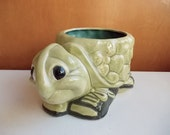 Turtle Planter, Animal Planter, Anthropomorphic Animal Flower Pot. Large Cute Kitschy Ceramic Planter Pot, Funny Cartoon Turtle in Sneakers.