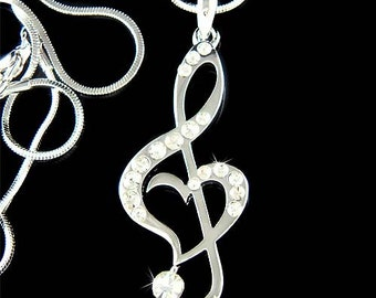 Swarovski Crystal TREBLE G CLEF Love Music Musical Note Heart Pendant Necklace