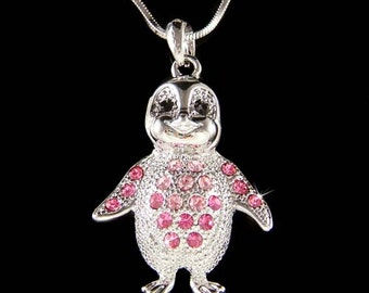 Swarovski Crystal Pink Emperor Penguin Antarctica Pendant Necklace Cute New