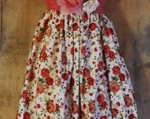 Boho roses dress ON SALE  red cotton  baby doll prom ruffles  vintage  rose  bohemian  medium  by vintage opulence on Etsy