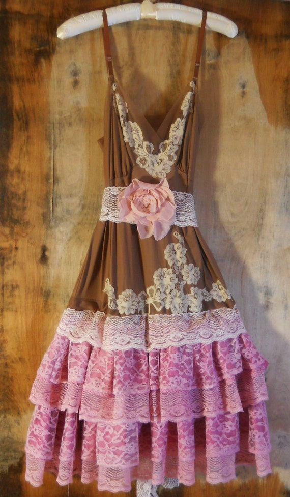 RESERVED for  Georgia Pettit Pink lace dress brown cream ruffle cupcake tulle rose  vintage   romantic medium   by vintage opulence on Etsy