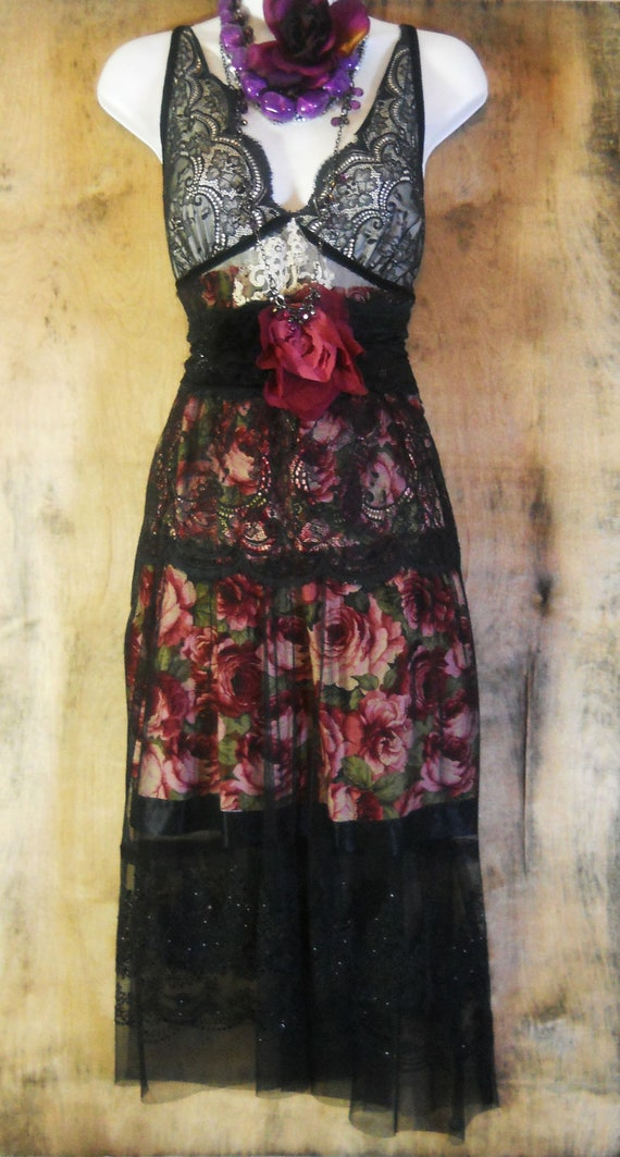 Black roses dress lace floral  boho  gypsy sparkle tiered  rose goth  medium  by vintage opulence on Etsy