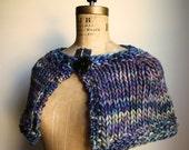 Knit Capelet Navy. Green. Purple. Bohemian lady. Handmade knitwear. Handcrafted fashion. knit cape.