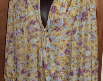 Womens Sz L Blouse Pussy Bow Tie Career Shirt by Bleyle Vintage Retro 1970s