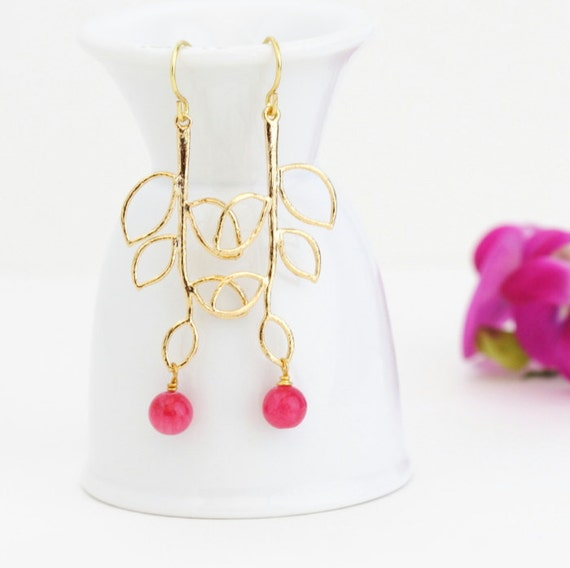 Gift For Mom, Hot PInk Gold Leaf Earrings, Gold Branch Earrings, Twig Earrings, Dangle Earrings, Gift For Mom