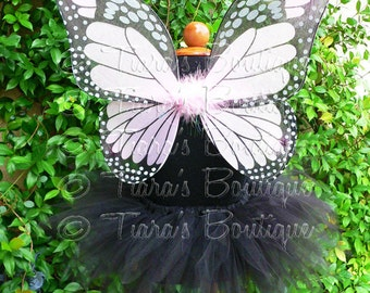 Girls Halloween Costume - Sewn 11'' Black Pixie Tutu & Monarch Butterfly Wings, Red, Orange, Yellow, Green, Aqua, Blue, Purple, Hot Pink