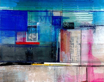 """Abstract Painting, Blue Mixed Media Art, """"Dream Passage No. 1""""  Large Original Contemporary Modern by Kathy Morton Stanion EBSQ"""