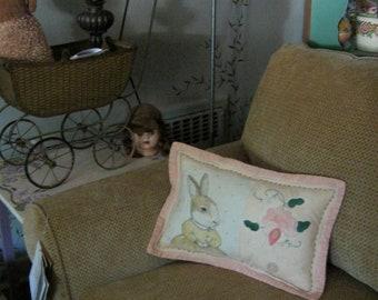 Rabbit art , illustrated pillow, art pillow,vintage bureau scarf