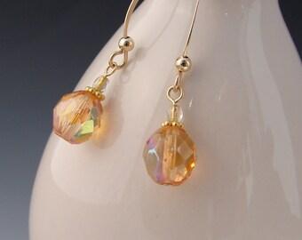 Honey Peach Earrings Long Earrings Glass Gold Filled