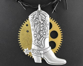 Steampunk Cowboy Boot Barbwire Necklace - The Steam Cowboy by COGnitive Creations