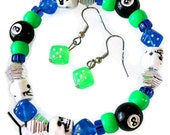 SALE - Skull Dice Eight Ball Bracelet & Earrings - Beaded Stretch - Bright Green Blue Black White - Costume Halloween Goth Punk - CLEARANCE
