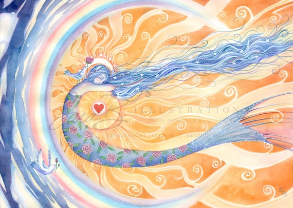 Mermaid Art Print - Sun Celestial Rainbow Doves and Heart