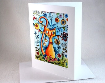 Blank Cat Note Card, Mexican Style Art Notecard, Blank Greeting Card, All Occasion Card, Original Cat With Crown Art Print, Blue, Orange