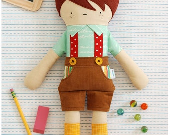 Fabric Doll Pattern - Boy Doll Sewing Pattern - Hans Doll - Stuffed Toy Instant Download