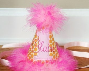 First Birthday Party Hat - Pink and orange dots - Free personalization