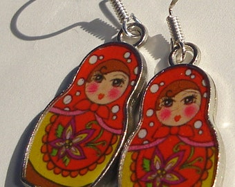 Matryoshka Pierced Earrings Russian Nesting Doll hand made pierced dangle charm earrings