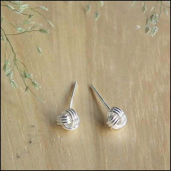 5 mm Knot Ball Earrings, Silver Love Knot Stud Earrings, Sterling Silver, Helix stud, Cartilage Piercing, Ear Pin, Cartilage Stud, Nose Stud