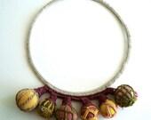 statement necklace crochet autumn colors