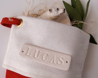Personalized Christmas Stocking in Red Canvas and Wool,  large with custom white ceramic name tile by Paloma's Nest
