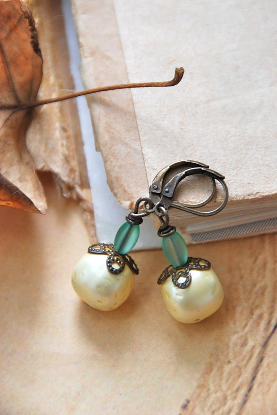 The great white pumpkin.antique beaded autumn harvest earrings. Tiedupmemories