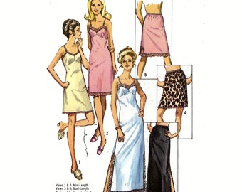 Vintage 70s Full slip and half slip lingerie sewing pattern Simplicity 9115  Bust 34 or Bust 32