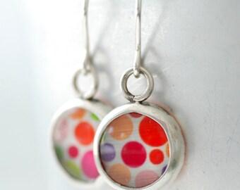 Mod Earrings, Retro Earrings, Polka Dot Earrings, Silver Earrings, Bezel Earrings, Pink, Orange, Green, 1970's, Wild Woman Jewelry