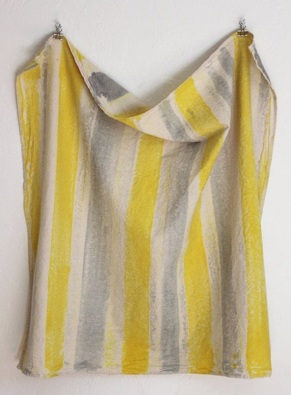 kitchen tea towel unbleached cotton citrus neon yellow and gray brush strokes hand painted