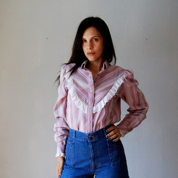 15% off CouponCode Fifteen vintage TUXEDO blouse / 1970s striped WESTERN ruffled bib snap down blouse