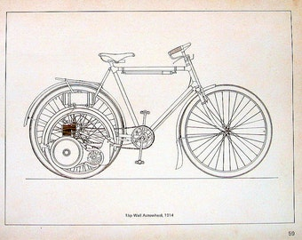1976 Vintage Motorcycle Book Plate Page 1HP Wall Autowheel Motorcycle, circa 1914