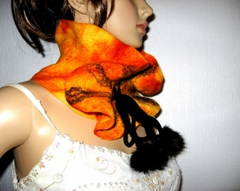 Felted  Scarf Ruffled Neck warmer Orange