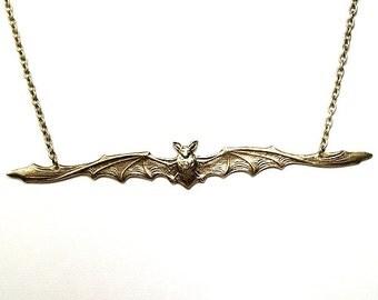 Bat Necklace, Antiqued brass Pendant, vampire necklace, gothic steampunk necklace, brass bat pendant, brass bat necklace, animal necklace