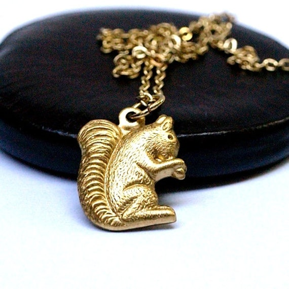 squirrel charm Necklace Small golden raw brass on a delicate gold plated chain
