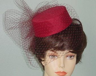 Pillbox Wedding Hat Silk Dupioni  Birdcage Veil - Made to Order - Ships in 4 Weeks