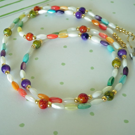 Beaded Eyeglass Lanyard. Multi Color Rice Shaped Shell Beads, Colofull Glass Beads,Gold Plated Beads