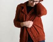 Vintage Cardigan Sweater - Autumn Rust Brown and Gold Thread - Pumpkin Cinnamon Spice - Medium to Large