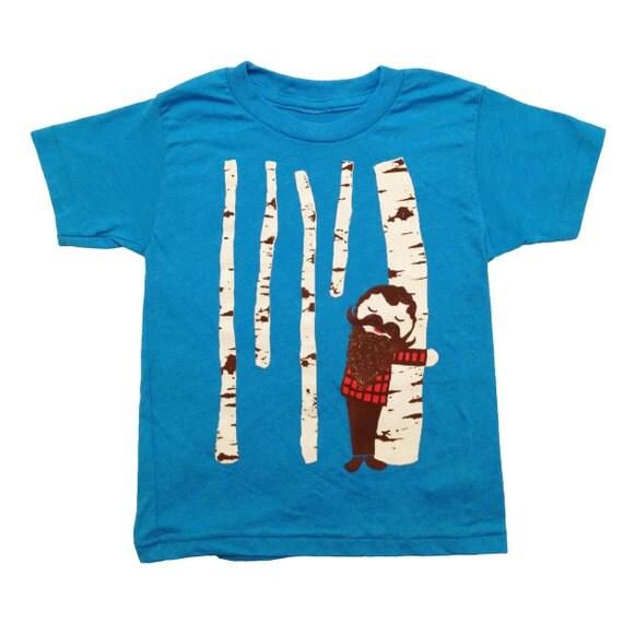 KIDS Tree Hugger - T-shirt Boy Girl Children Toddler Youth Tee Shirt Cute Beard Mustache Birch Woodland Forest Lumberjack Nature Blue Tshirt