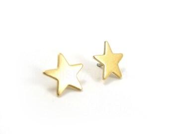 Star Stud Earrings,Minimal Earrings,Astronomy Jewelry,Golden Brass Star Earrings,Star Jewelry,Space NASA Earrings,Sterling Silver Studs (E20