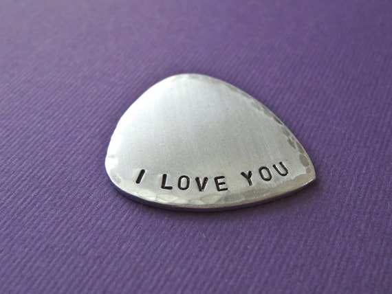 I Love You Guitar Pick - Hand stamped guitar pick - Brushed Weathered Finish