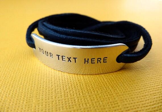 Custom Bracelet - Personalized Bracelet - Hand stamped Aluminum leather Wrap Bracelet