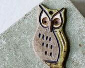 Woodland Owl- handmade ceramic pendant
