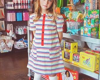 SALE!!! Retro Style Chevron multicolored dress,children clothing